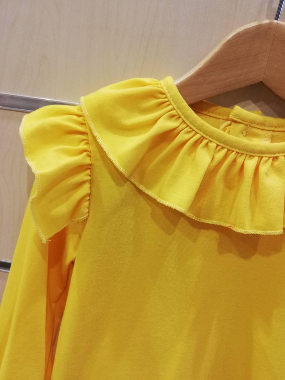 camiseta volantes algodo amarillo