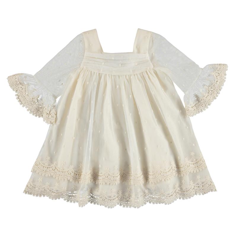 vestido tul bordado combinado con guipur